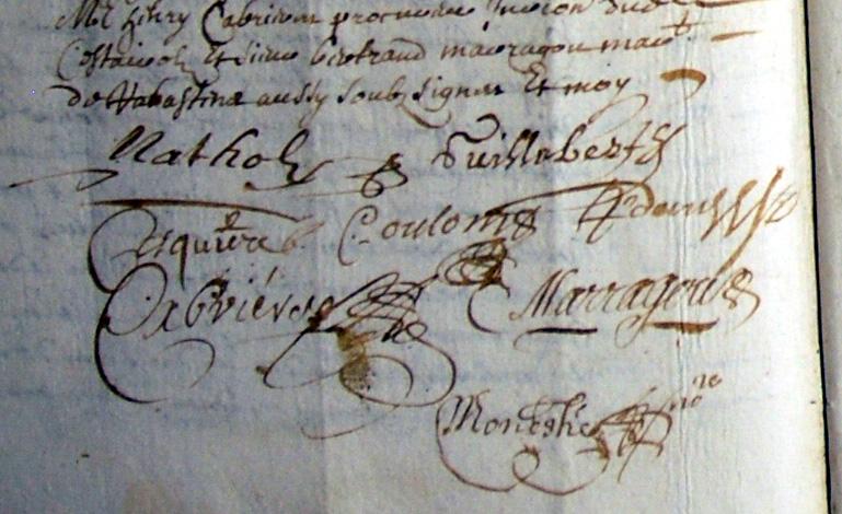 Signatures sur le contrat de mariage de Pierre Galaup et Marie Natholy - dont la signature d'Estienne Natholy