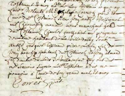 Témoins du testament d'Estienne Natholy - 1688 - Cestayrols
