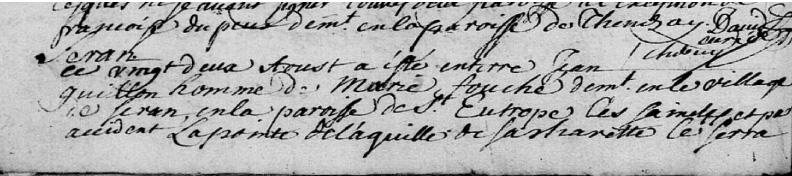 Jean Guillon, habitant de Cherves, mort à Saintes en 1701