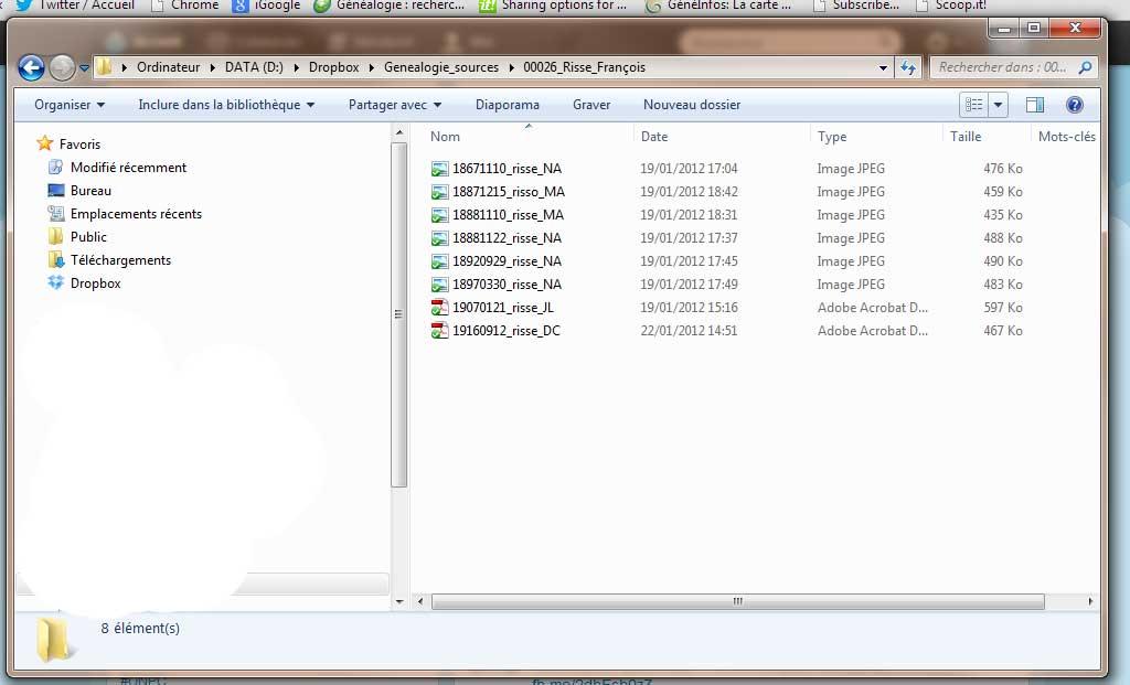 Fichiers informatiques avant renommage
