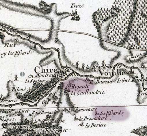Carte Cassini de Chiré et Vouillé