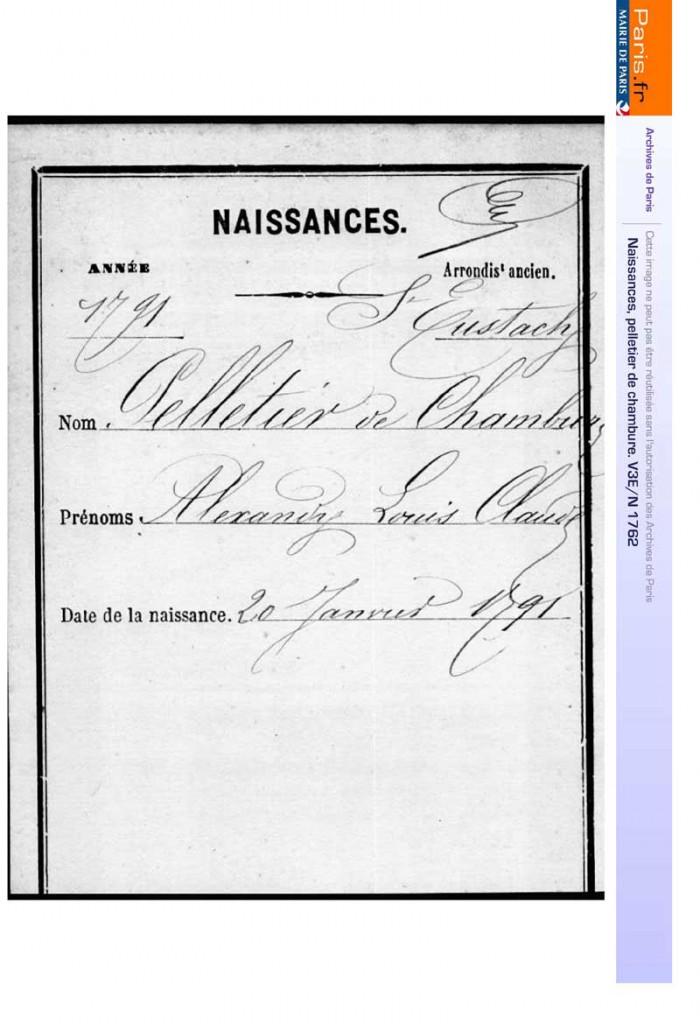 Reconstitution de l'acte de naissance d'Alexandre Pelletier de Chambure - Archives de Paris