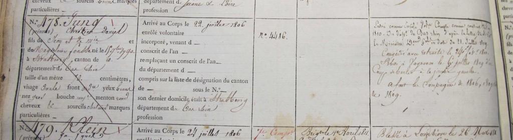 Registre matricule du 9ème hussard - 1806 - matricule 478 - Jung Chretien Daniel