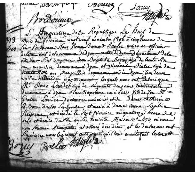 AD21 - Acte de décès de Pierre Landes