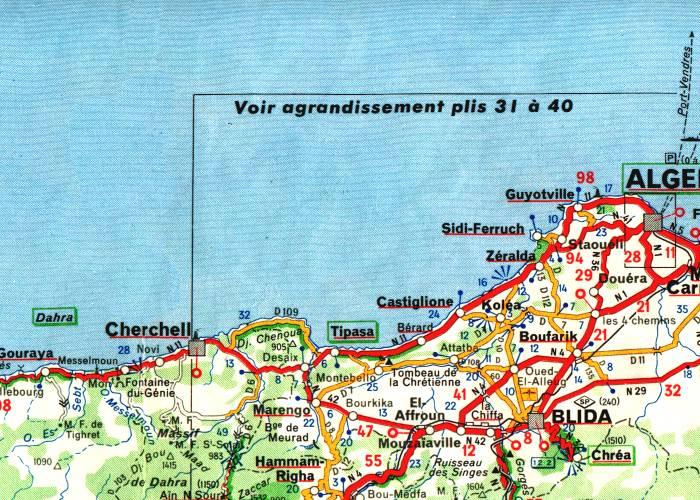 Extrait de la carte Michelin 1958 de l'Algérie