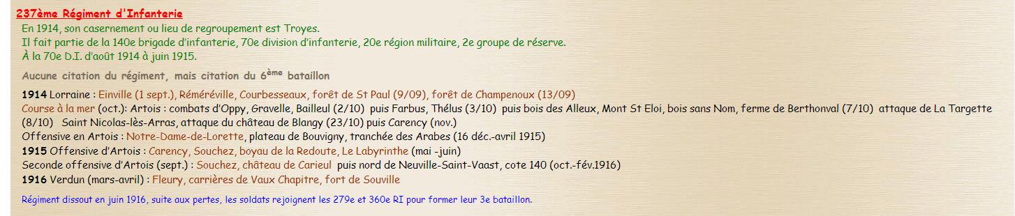 Historique du 237 ème RI - Source Chtimiste.com