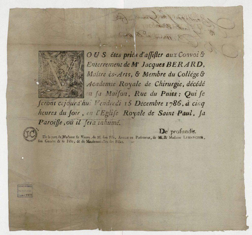 Archives Nationales - Placards de décès