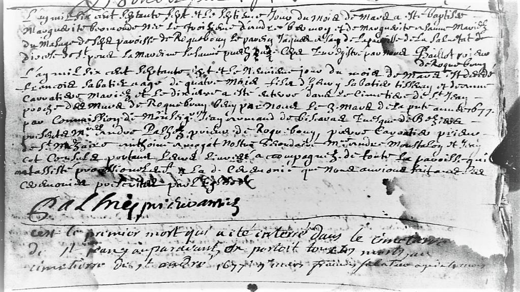 Capture d'écran de la vue 137/150 du registre des BMS Roquebrun aux archives de l'Hérault