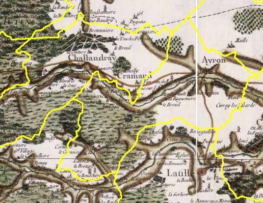 Les contours de la commune d'ayron sur la carte de Cassini