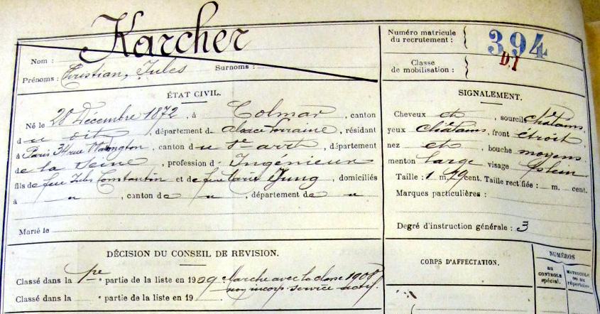 Matricule 394 classe 1908 - Christian Karcher