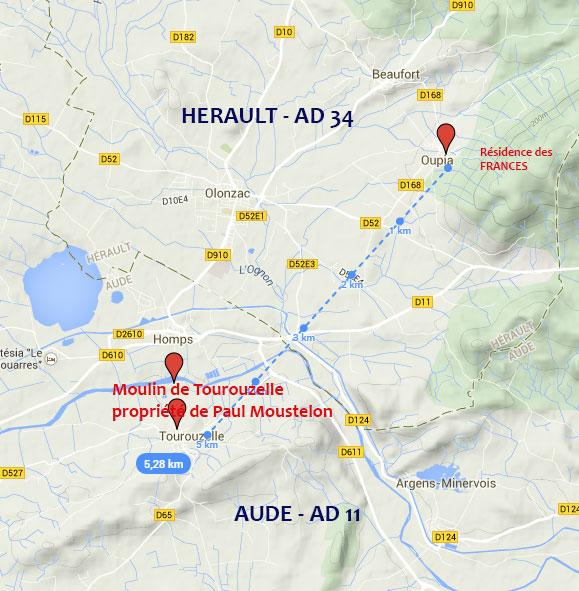 A partir de Google Maps, région d'Oupia et de Tourouzelle