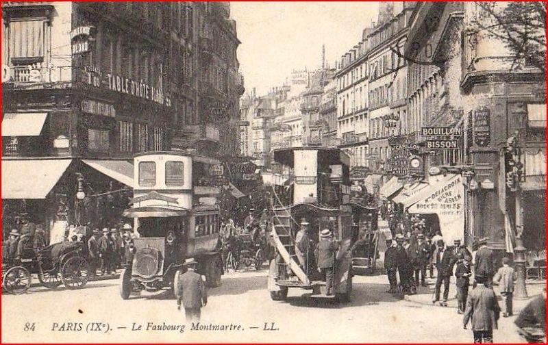 Paris Faubourg Montmartre vers 1910
